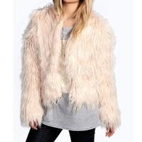 2014 New Fashion Women Fur Coat Street Style Long Sleeve Winter Coats Faux Fur Luxury Short Coats B22 CB031519