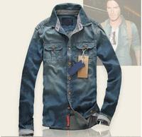 fashion pure cotton men's denim shirt man Thin long sleeve shirts free shipping
