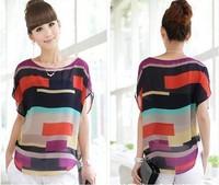 High Quality Colorful chiffon Fashion T-shirt Women lady's summer Tops Tees F0147