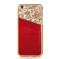 New arrival  Luxury genuine leather back cover case with card slot for iphone 6 4.7inch,Free shipping
