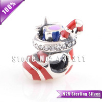 100% Authentic 925 Sterling Silver Santa's Stocking Enamel Charm Beads Fit European Style Jewelry Bracelets & Necklaces YZ613