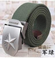 freeshipping Wholesale 7 star pentagram canvas belt buckle casual men's belt , Ms. belt tactics bird personality