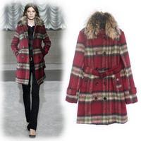 Hot Selling British Style Women Wool Trench Coat For Women Fashion Plaid Windbreaker Desigual Abrigos Mujer Free Shipping W1473