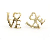 Love Earrings / Vintage Stainless Steel Heart Handmade Wedding