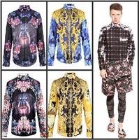 top Fashion   ace royal zebra print male long-sleeve shirt slim shirt