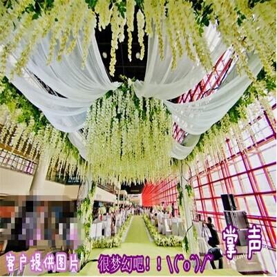 glicínias longa seqüência coalhada de feijão simulação flor artificial de flor de seda arranjos de casamento rattan vinhas que pairam decoratio parede(China (Mainland))