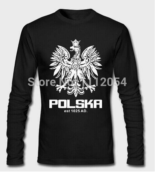 Polska Polish Dance Soccer Long-sleeve T-shirt Men 100% Cotton Custom t shirt Man Plus Size Top Quality Poland Football(China (Mainland))