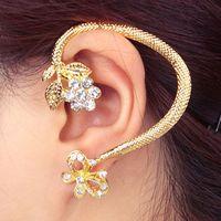 Min.Order $8.8(Mix Order)Retro Vintage Punk Silver Gold Bronze Aolly Crystal Butterfly Flower Women Earring Cuff Ear Clip FE0302