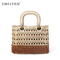 Smilyan leather women handbag elegant women messenger bag hollow out women shoulder bag with detachable clutch bag free shipping