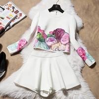 2014 Top Brand Design Autumn Winter Women Clothing Set Print Flower 2pcs Set Long Sleeve Coat Shirt Top and Skirt Two Piece Suit
