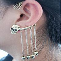 Min.Order $8.8(Mix Order) Hot Sale Fashion Punk Rock Bronze Alloy Metal Ghost Skull Tassel Ear Cuff Women Earring Jacket FE0303