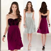 Free Shipping 2015 Bridesmaid Dresses Purple Black Lace Short Wedding Party Dress Sweetheart Vestidos de Festa Curto B2306