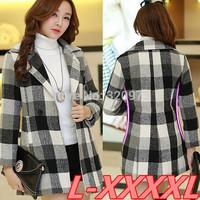 L-4XL size outdoor women coat 2014 european style extra plus size black white plaid overcoat fat women winter coat free shipping