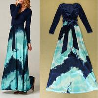 New Europe High Fashion V-neck Belted Velvet Long Dress Printed Elegant Formal Dresses For Special Occasion SS4552