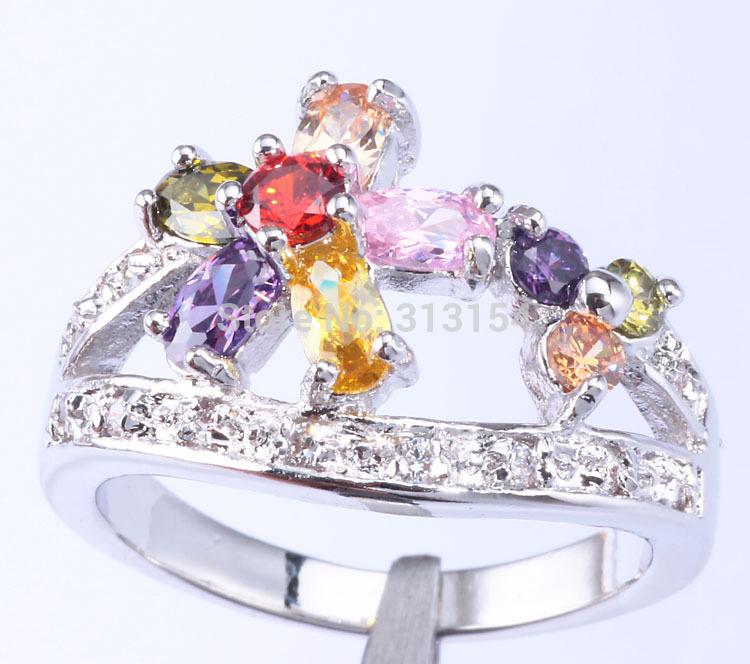 Hot ! Wholesale & Retail Amethyst Pink Topaz Citrine Peridot Morganite & Cubic Zirconia Silver Ring Size 7.5 NJ6412(China (Mainland))