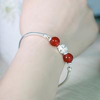S990 fine silver red agate bracelet women's pure silver bracelet fashion accessories jewelry birthday gift
