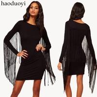 Long Tassel Decoration Black Autumn And Winter Dress Long-sleeve Dress Banquet Women Dress Factory Dropshipping