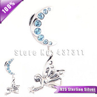 925 Sterling Silver Vintage Fairy Moon Goddess Dangle Charm With Blue Crystal Fit For European Charm Bracelets & Necklaces YZ549