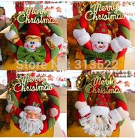 25 pcs/lot EMS Free 2014 Christmas supplies Christmas decoration wreaths hang door knocker Santa Claus, Christmas snowman 20cm
