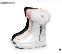 trophonema 2014 sheepskin boots female genuine leather flat heel fashion rabbit fur boots