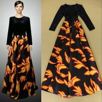 2014 New Runway Fashion Long Sleeve Leaves Print Elegant Maxi Formal Dress Ladies Prom Dresses SS4550
