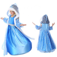 Retail 2014 new arrive frozen dress, long sleeve snowflake dress, princess dress, 100% cotton frozen dress + hat shawl