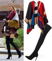 Vintage Women Blanket Tartan Scarf Wrap Shawl Cape Wraparound Cozy Warm S11