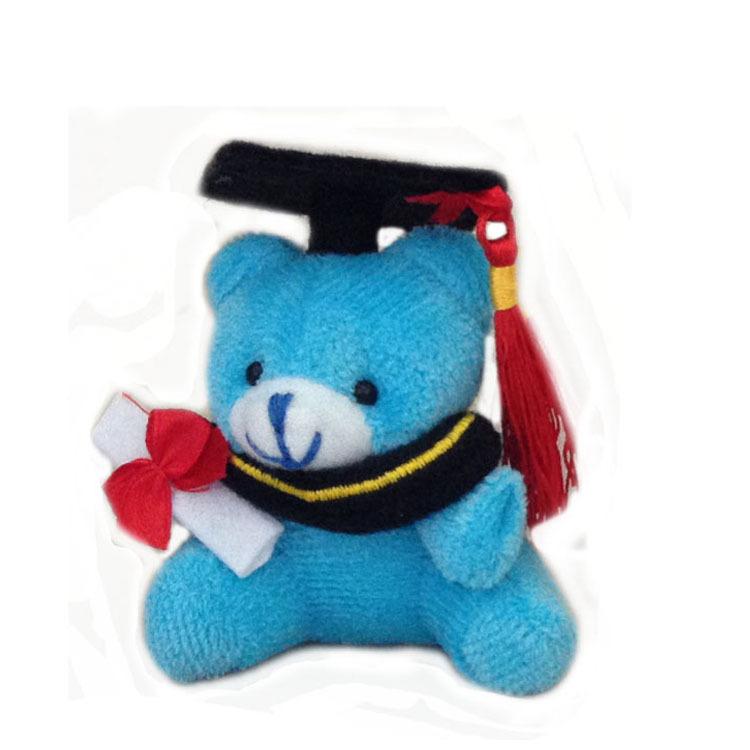 One piece, blue, 7cm plush graduation teddy bear keychain, stuffed graduation teddy bear, graduation teddy bear(China (Mainland))