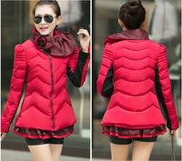 Top Sale 2014 Winter Slim Turn-down Collar Down Cotton Coat Warm Winter Jackets Women Bow Collar Padded Parka Outwear Coats A10