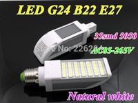 Free shipping led PL lighting G24 E27 B22 SMD 5050 led lamp 180 degree AC85-265V 12W led corn bulb natural white