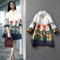 Hot Selling 2014 New Brand Desigual Abrigos Mujer Women Long Trench Coat Vintage Flower Printed Female Overcoat Free Ship W21775