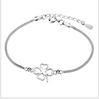 Min Order is $5 (mix order)Free Shipping 2014 Hot selling fine Women's Four-Leaf Clover bracelet Jewelry