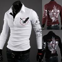 Brand 2014 Man Tops Men's Long Sleeve T Shirts Men Tshirt Pullovers New Brand Casual T-shirt Eagle Printing Mens Shirt R1571