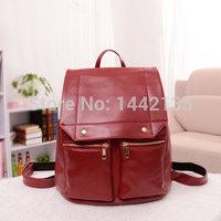 2015 new backpack school bag girls fashion rivets zipper Double root retro embossed multi-purpose ladies bags