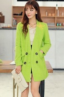 Women Long Sleeves Double Breasted Grass Green Plunging V Neck Wool Coat  Free Shipping
