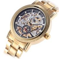 2014 new fashion watches men luxury brand  Golden  Skeleton Automatic Mechanical  Wristwatches