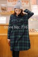 Winter Dream Tartan Plaid Long Sleeves Shirt Dress   Free Shipping