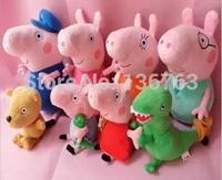 New !!! 8pcs/lot Peppa pig series Plush Doll Toy Peppa teddy Bear GEROGE Dinosaur peppa geroge mummy daddy Grandma grandpa
