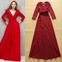 2014 Autumn European Designer Fashion Turn-down Collar Luxury Long Dress Elegant Formal Dresses SS4553