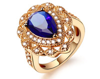 Gem Jewelry Rose Gold Plated Sapphire Ring Flower Rose