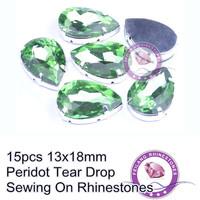 For Popular Decoration Peridot 13x18mm Glass Material Tear Drop Sewing On Rhinestones
