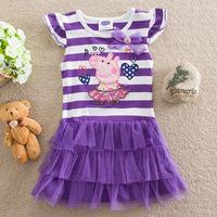 2014 Summer new girls dress peppa pig / swine Kids Pepe Princess striped short-sleeved dress embroidered H103 #