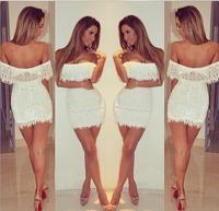 White Colour Women's Slash Neck Off the Shoulder Sexy Lace Mini Dress Club Night Dress High Quality Wholesale