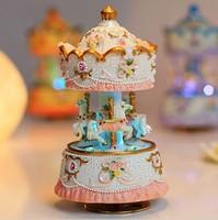 New Arrival Castle in Sky 14*8CM MERRY GO ROUND Music Box Girl Kids Gift Christmas Present Resin Figurine