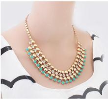 2014 fashion vintage rhinestone necklaces pendants women brand new jewelry statement  necklace wholesale(China (Mainland))