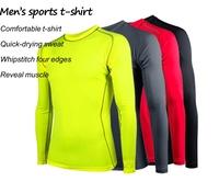 Mens t shirts fashion 2014  long sleeve compression shirt men dry fit athletics running clothing camisetas running hombre