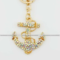 Fashion clear AB- rhinestone crystal anchor Keychain Alloy ring Bag purse package Charm chain jewelry accessories pendant
