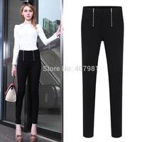 2014 European and American Fashion zipper waisted plus velvet pencil pants self-cultivation big code Leggings Pants female