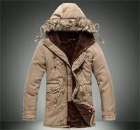 2014 New Fashion Winter Medium-Long Fleece Thickening Fur Hooded Men Jacket Coats