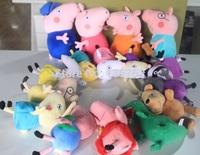 New 16pcs/set Peppa pig Plush Doll Toy Peppa teddy Bear Geroge Dinosaur Peppa pig grandpa and Grandma peppa pig friends